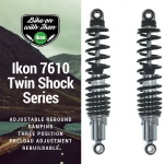 Ikon 7610 Chrome/Black Motorcycle Koni Shock Absorbers Suzuki GT550 1974>79